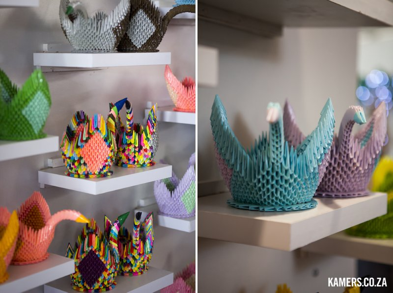 Origami swans at KAMERS/Makers - www.kamers.co.za